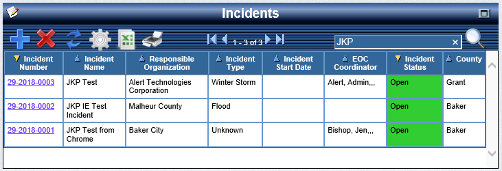 OpsCenter Incident Status Board filtered by JKP