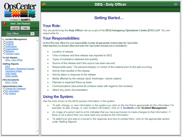 Example of an OpsCenter Start Page