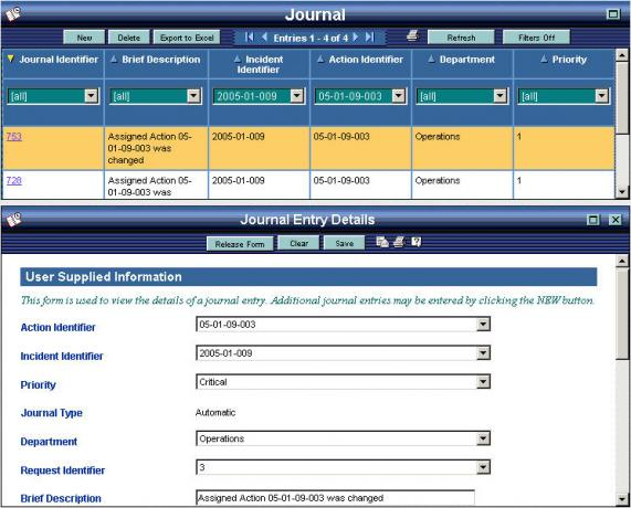 OpsCenter Journal Status Board with Form